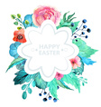 Easter watercolor natural with flower sticker vector image
