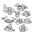 angels doodle vector image