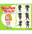 Game template with shadow matching girl vector image