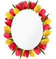 Colorful tulip flowers background Happy mothers vector image