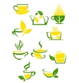 Green tea icons with outlined cups and teapot vector image