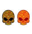 Skull in Khokhloma style Head skeleton texture vector image