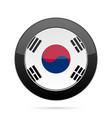 flag of south korea shiny black round button vector image