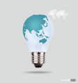 electric light bulb with a world map vector image vector image