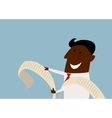 Cartoon african businessman reading a report vector image vector image