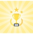Golden Trophy with laurel wreath vector image