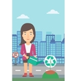 Woman watering tree with recycle sign instead of vector image
