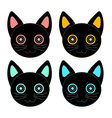 Colorful Black Cat Face vector image