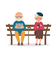 An elderly couple sitting on a bench with gadgets vector image