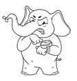 elephant character angry pointing at the clock vector image
