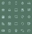 Internet cafe line icons blue color vector image