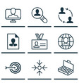 set of 9 business management icons includes vector image