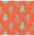 Christmas trees seamless red pattern vector image vector image