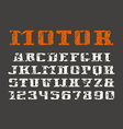 Serif font and numerals vector image