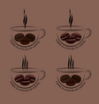 set of cup of hot coffee with ferry and grains vector image
