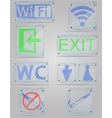 transparent signs for public places on the plate vector image