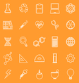 Science line icons on orange background vector image vector image