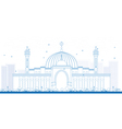 Al fateh grand mosque outline vector