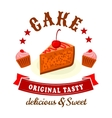 Bakery and pastry shop badge with chocolate cakes vector image
