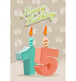 Birthday candle number 15 with flame vector image