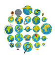 globe earth icons set flat style vector image