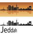 Jeddah skyline in orange background vector image