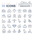 set flat line icons vancouver and canada vector image