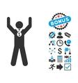 Winner Hands Up Flat Icon with Bonus vector image