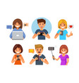 young smiling boy and girl holding gadgets vector image