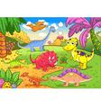 Cute dinosaurs in prehistoric scene vector image vector image