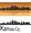 Kansas City skyline in orange background vector image vector image