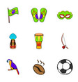 brazil statue icons set cartoon style vector image