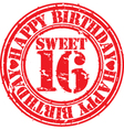 Grunge 16 years happy birthday rubber stamp vector image