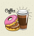delicious donut with plastic coffee cup vector image
