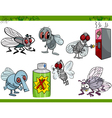 funny flies set cartoon vector image