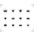 set of black crowns vector image