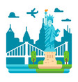 flat design liberty statue new york vector image