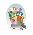 Heap of boxes on pickup with Big Sale text vector image