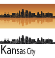Kansas City skyline in orange background vector image