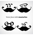 Mustaches with faces set vector image