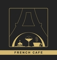 Traditional French kitchen mono line logo vector image