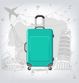 travel bag with different travel elements vector image