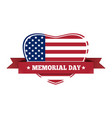 memorial day design us flag in the shape of heart vector image