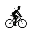 silhouette man riding cycle transport vector image