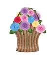 Basket of flowers vector image vector image