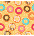 Seamless yellow background with different donuts vector image
