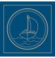 Marine emblem with yacht sailboat vector image