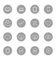 line web icon set on gray circle vector image