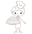 Scullion with cake vector image vector image