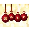 Red Christmas balls with golden word Sale vector image